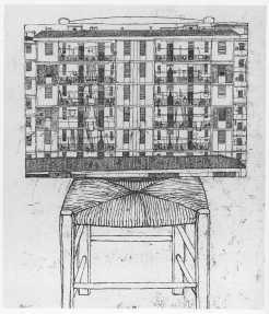Casa sulla sedia, 1972, acquaforte, cm 27,4x22,4. Galleria degli Uffizi, Gabinetto delle Stampe, Firenze